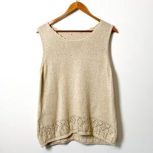 Vintage Tan Cottagecore Chunky Knit Sweater Vest Top